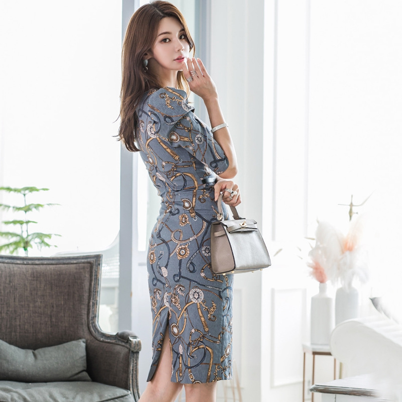 Printed Jewelry Autumn Pencil Dress Women Half Sleeve Package Hip Wrap Dress Women Winter Casual Dresses Ladies Vestido Largo 3