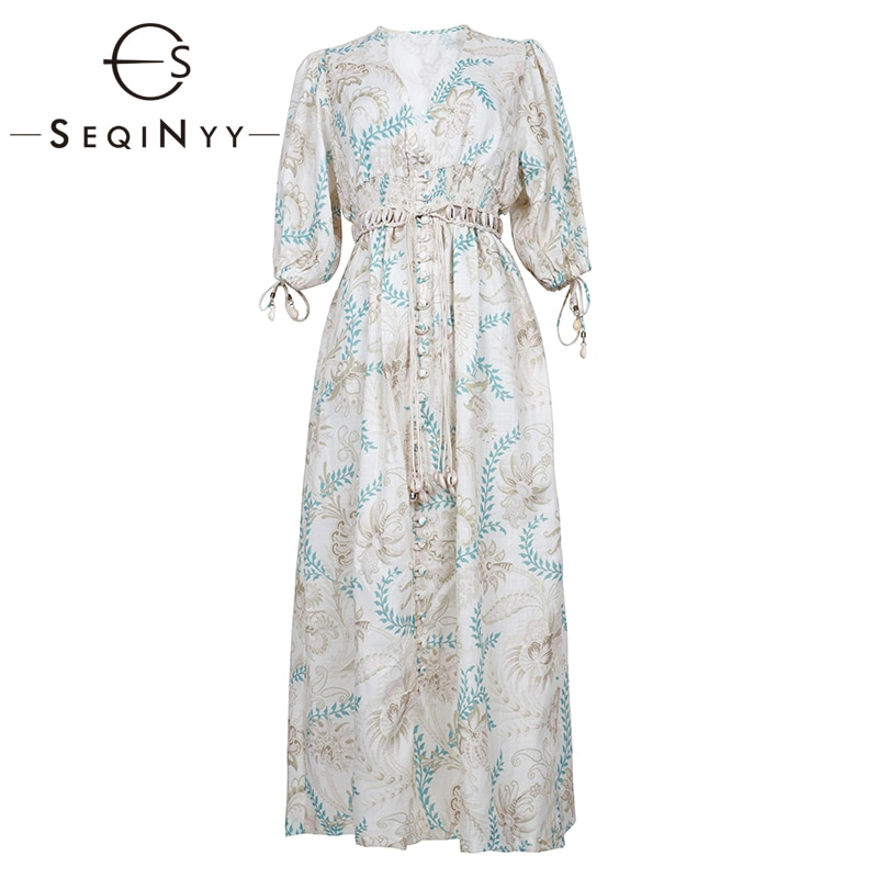 SEQINYY Vintage Dress  Summer Spring New Fashion Design Half Sleeve Flowers Printed Elastic Waist Linen Cotton Loose Dress 1