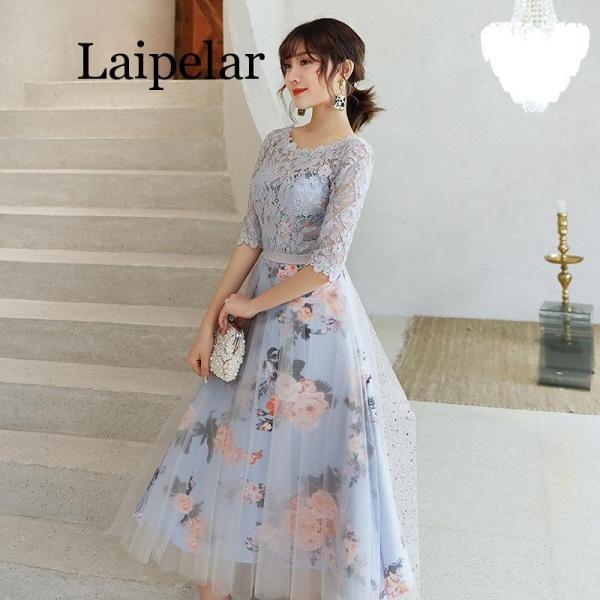 New Flower Elegant Dresses Short Lace Party Robe Soiree Half Sleeves Bride Dress