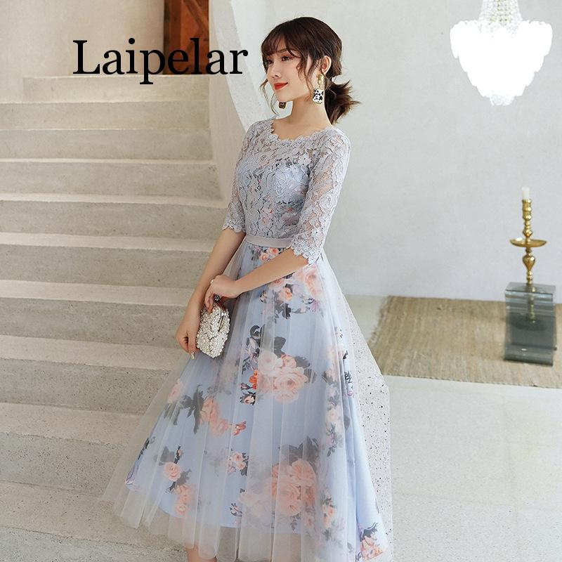 New Flower Elegant Dresses Short Lace Party Robe Soiree Half Sleeves Bride Dress