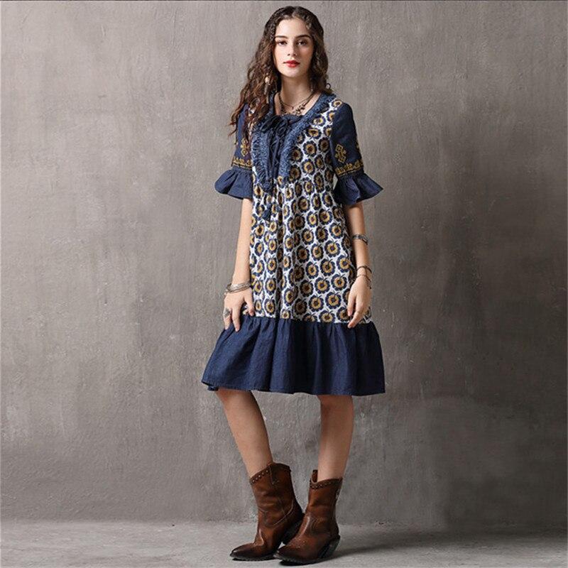 Vintage Patchwork Summer Dress 18 Boho Denim Vestidos Floral Print A line Half sleeve Swing Hem Layered Women Dresses 892 1