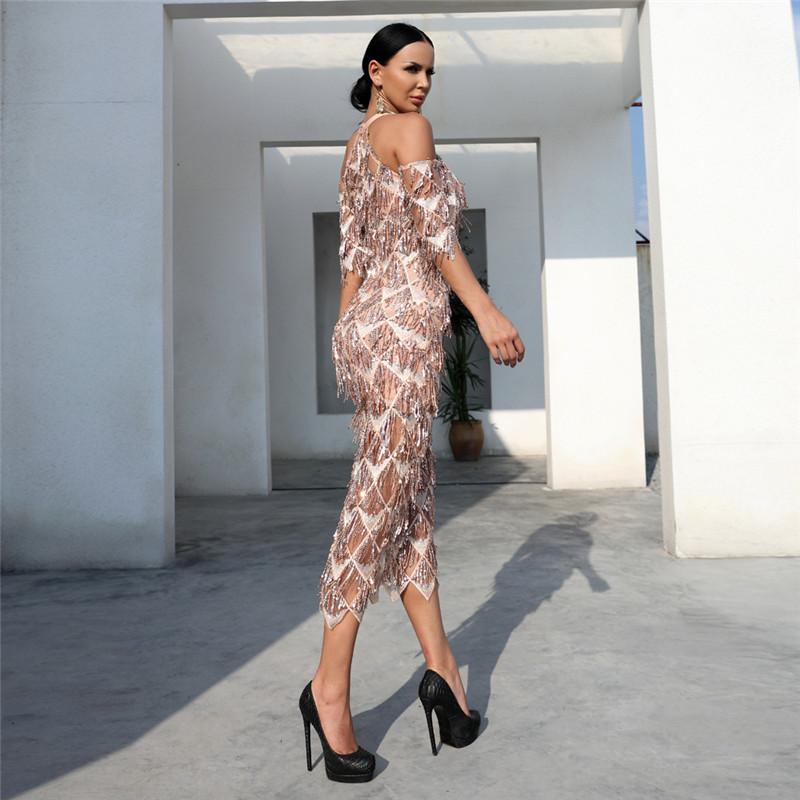 IFox  Charming Halter Neck Tassel Sequined Women Dress Elegant Half Sleeve Female Party Dress Vestdios WD9121701 3