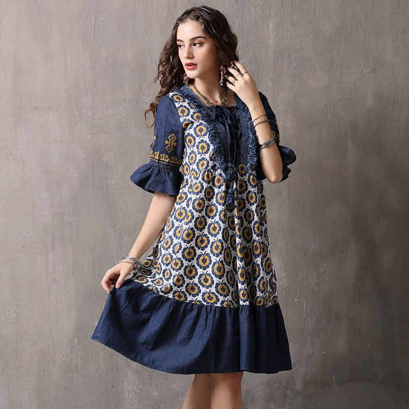 Vintage Patchwork Summer Dress 18 Boho Denim Vestidos Floral Print A line Half sleeve Swing Hem Layered Women Dresses 892 2