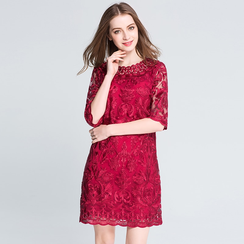 MUSENDA Plus Size Women Hollow Out Lace Embrodery Half Sleeve Red Dress 18 Summer Sundress Lady Casual Fashion Party Dresses 2