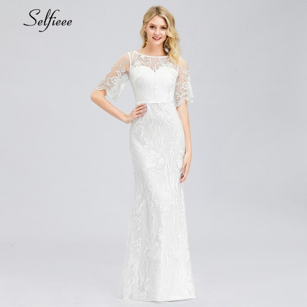 Elegant White Lace Women Dress Mermaid O-Neck Half Sleeve Illusion Bodycon Dress Ladies Sexy Maxi Dress Vestido De Festa 19
