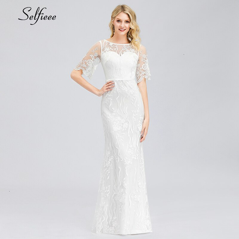 Elegant White Lace Women Dress Mermaid O-Neck Half Sleeve Illusion Bodycon Dress Ladies Sexy Maxi Dress Vestido De Festa 19