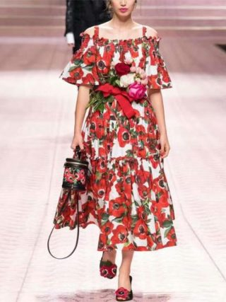 Women Dress 19 High Quality Spring Summer Designer Runway Half Sleeve Printed Spaghetti Strap Casual Dresses NP0093
