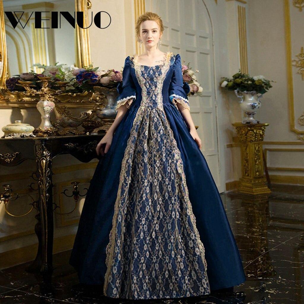 Vestidos Long Dress 19Top New Fashion Womens Gothic Vintage Dress Steampunk Retro Court Princess Half Sleeve Dress Robe Femme 2