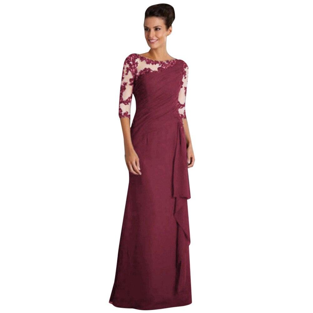 19 Women maxi dress Ladies Long Dress Lace Stitching Round Neck half Sleeve Dress Formal Dress 2