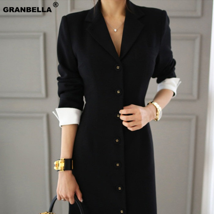 Autumn New Arrival Women OL style A-line knee-length Casual half sleeve slim vestidos office lady black professional dress 2