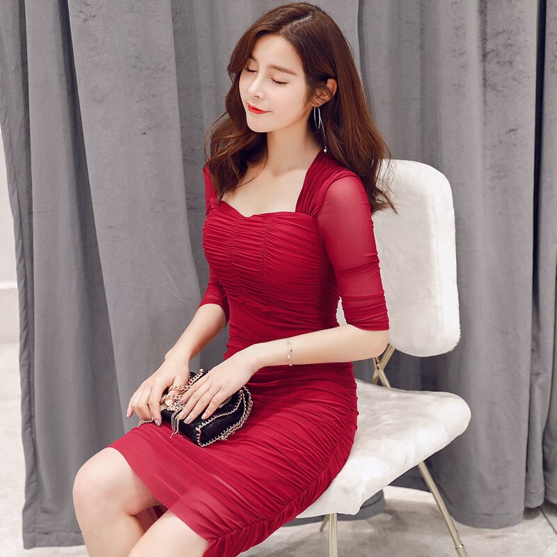 Summer Club Dresses Square Collar Half Sleeve Draped High-end Women Dress Office Lady Sexy Party Vintage Bandage Bodycon Dress 2