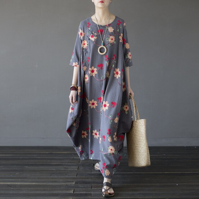 Women Embroidery Floral Dress Chinese Style Autumn New Half Sleeve Women Vintage Loose Cotton Long Dress 3