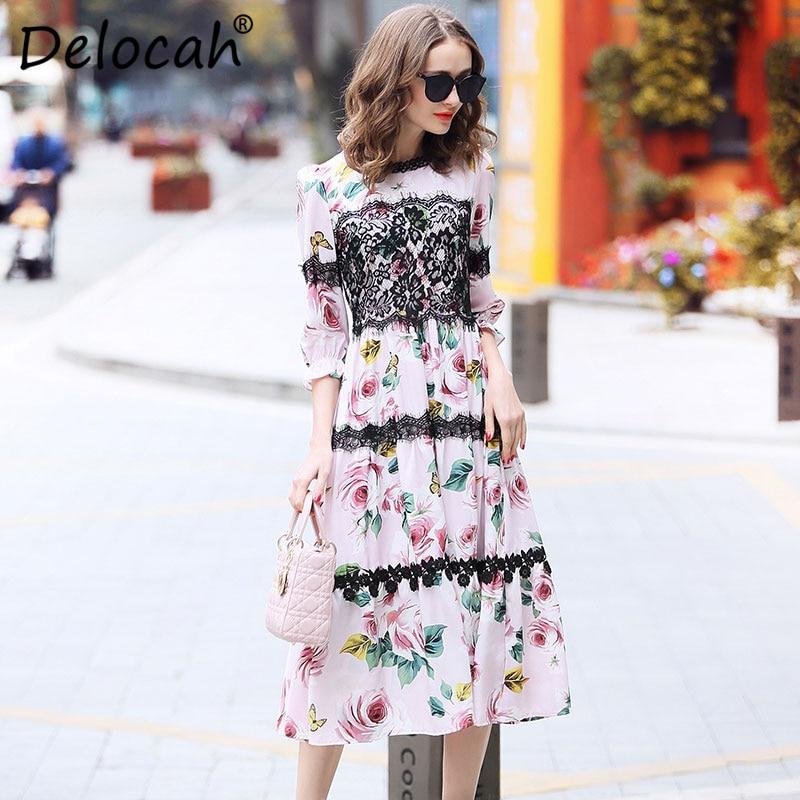 Delocah Women Spring Summer Dress Runway Fashion Designer Half Sleeve Gorgeous Lace Rose Printed Slim Knee-Length A-Line Dresses 1