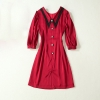 HIGH QUALITY Newest 19 Runway Dress Women's Half Sleeve Peter Pan Collar Button Dress