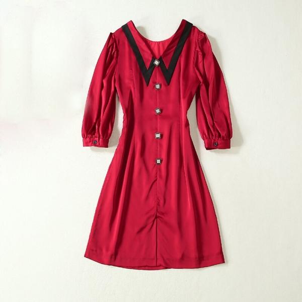 HIGH QUALITY Newest 19 Runway Dress Women's Half Sleeve Peter Pan Collar Button Dress