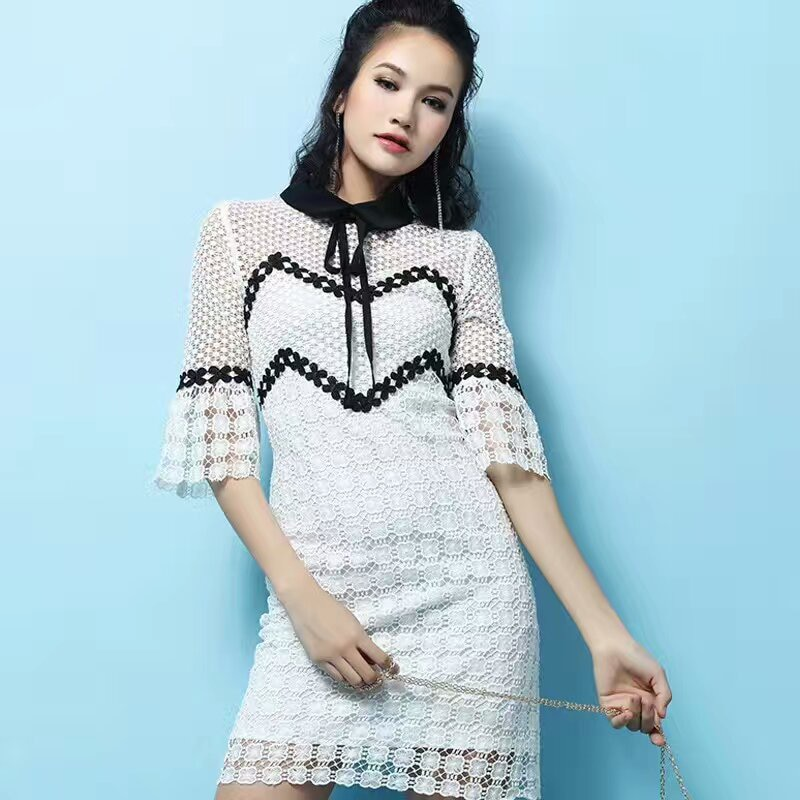 Summer 19 Self Portrait Dress Half Flare Sleeve Bow Turn-down Collar Runway White Lace Patchwork Hollow Out Sexy Party Dress 2