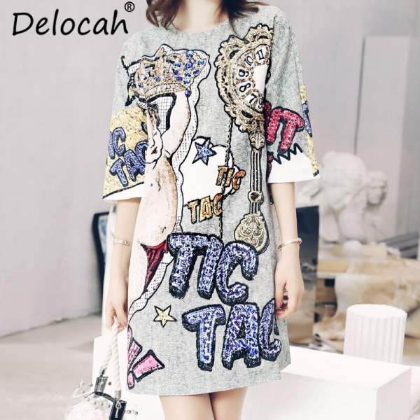 Delocah Autumn Women Dress Runway Fashion Designer Half Sleeve Gorgeous Beading Angel Letter Printed Mini Straight Dresses