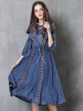 #2412 Autumn Embroidery Round Neck Denim Dresses Women Fashion Vintage Tie Waist Half Lantern Sleeve Washed Jeans Dress Tide