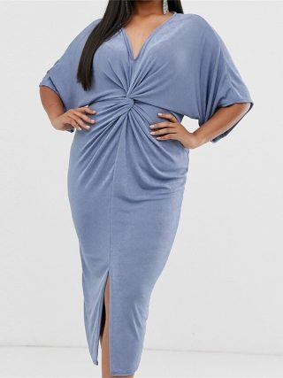 Plus Size Summer Fashion Plicated Solid Color Half Sleeve 3XL-7XL V-neck Overweight Woman Casual Sheath Dress Lady Long Dress