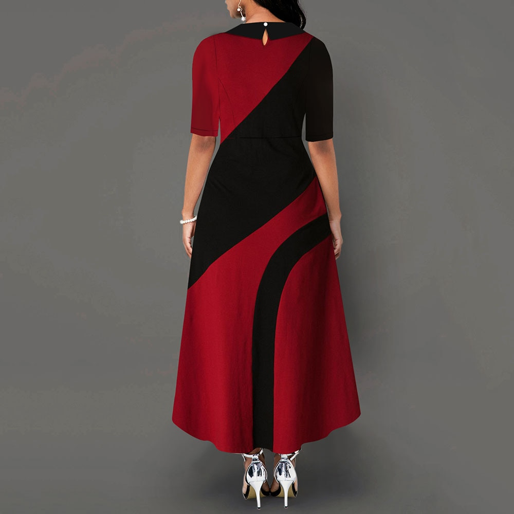 A Line Color Block Office Dress Elegant Women Peter Pan Collar Half Sleeve African Ladies Work Wear Long Maxi Dress Female Fall 3
