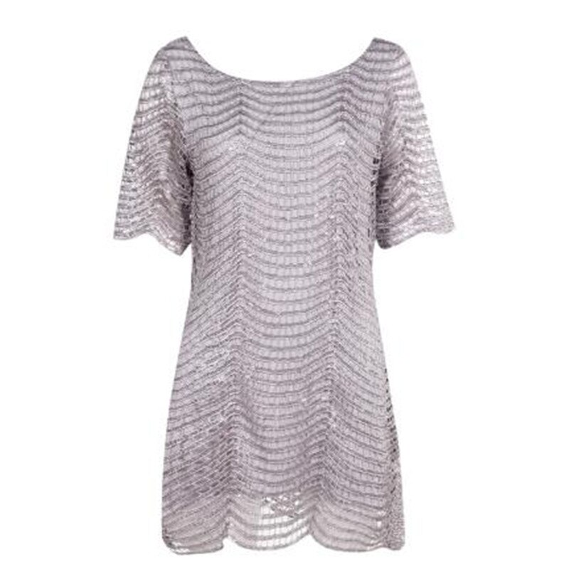 Haoduoyi The new Women's Fashion cute slim Loose Hollow out Wave Sequin Dress Five-Sleeve Straight Dress 2