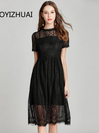 TAOYIZHUAI Summer New Arrival Black Casual Style Plus Size Patchwork Half Sleeves O Neck Elegant Lace Dress For Women 11692