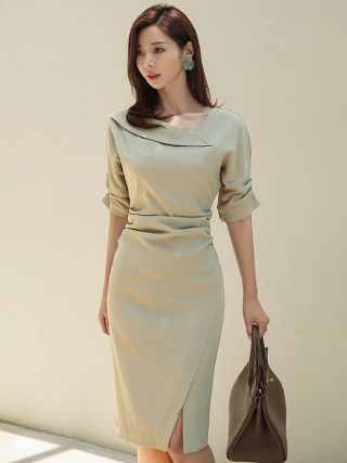 HAMALIEL High Quality Women Office Lady Pencil Dress Autumn Solid Sheath Half Sleeve Bodycon Slim Work Wear Formal Split Dress