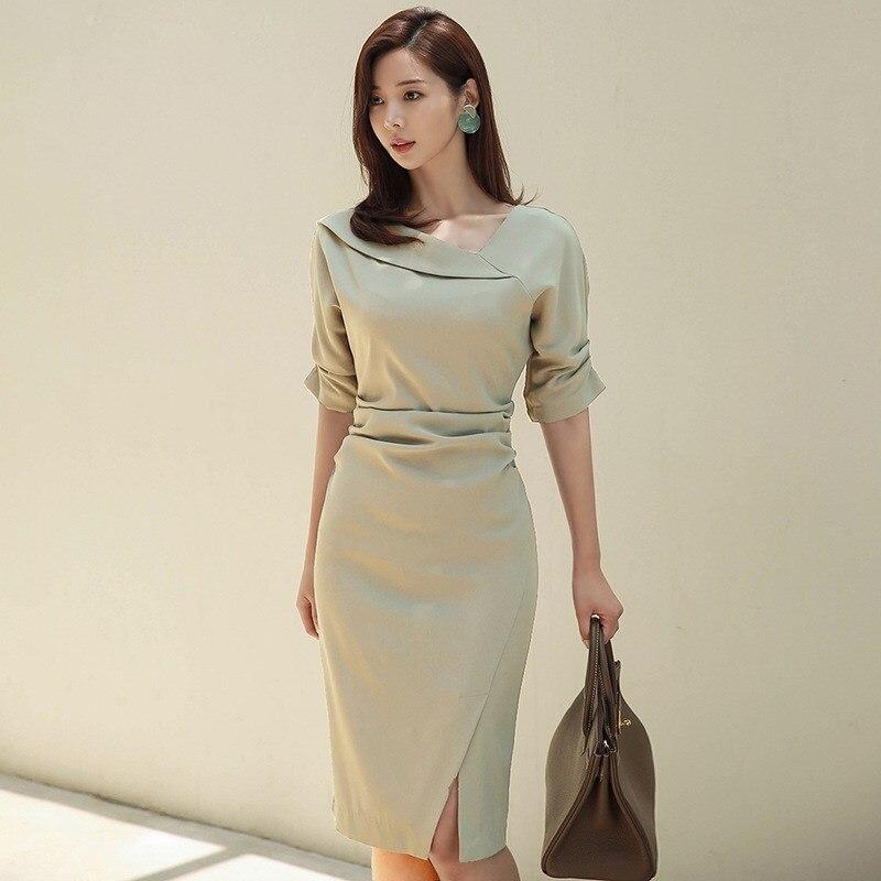 HAMALIEL High Quality Women Office Lady Pencil Dress Autumn Solid Sheath Half Sleeve Bodycon Slim Work Wear Formal Split Dress