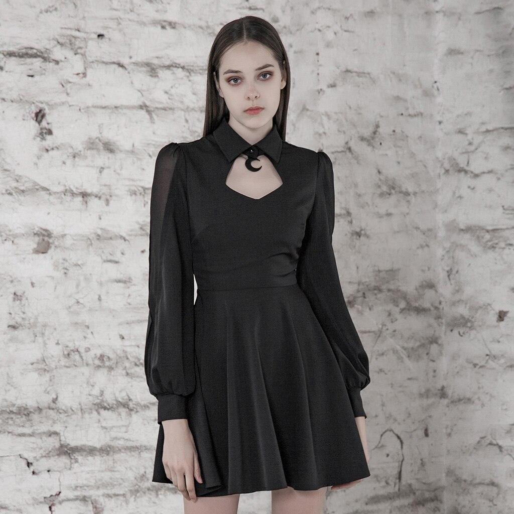 PUNK RAVE Women College Cut-out Sexy Dress Comfortable Chiffon Slim Fit High Waist Long Sleeve Half Dress 1