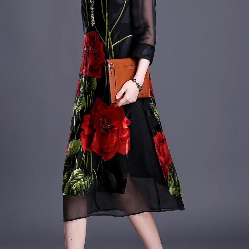 Imitate Real Silk Dresses Plus Size Vintage Loose Women Print A-Line Dress New Pattern Half Sleeves Dress Lady Nightclub Costume 2