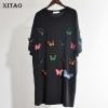 [XITAO] 18 Korea Spring New Street Women Solid Color 3D Decoration Loose Dress Female Above Knee Half Sleeve Dress XWW3642