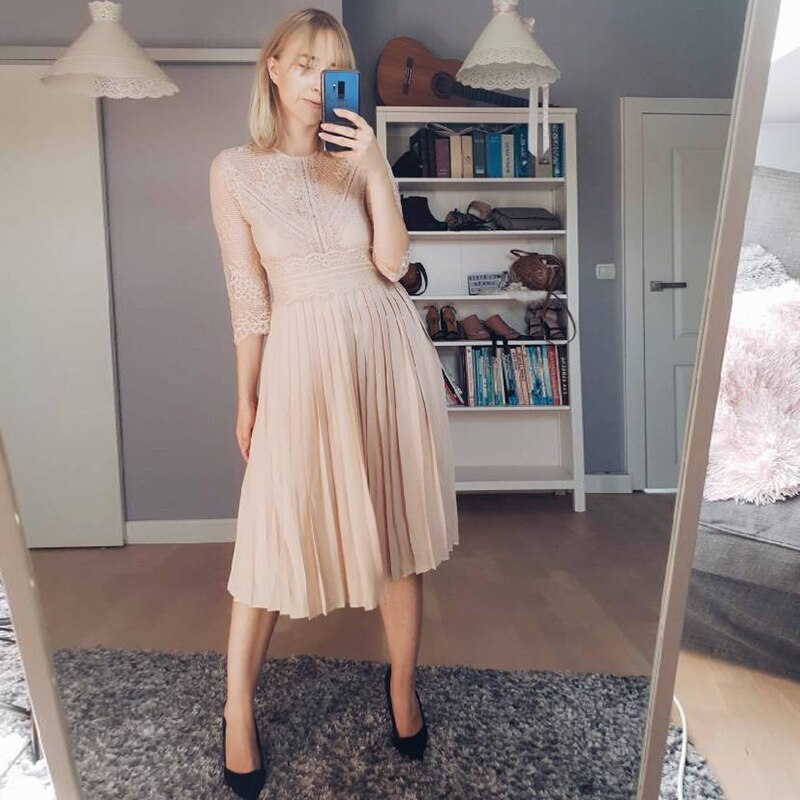 19 Women Fashion Half Sleeve Dress Rave Festival Clothes Nude Dress Party Lace Mid-Calf Femme Vestidos Pleated Dress AB1453 2