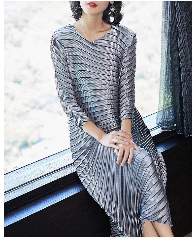 HOT SELLING Miyake fashion solid fold o-neck half sleeve Asymmetrical dresses IN STOCK 2