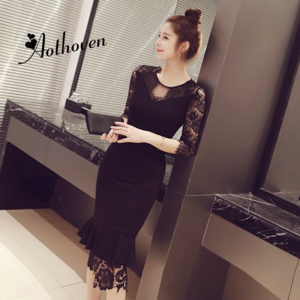 Summer Black Mermaid Dresses O Neck Half Sleeve Patchwork Lace Dress Women Office Bodycon Sexy Party Ladies Sundress Vestidos