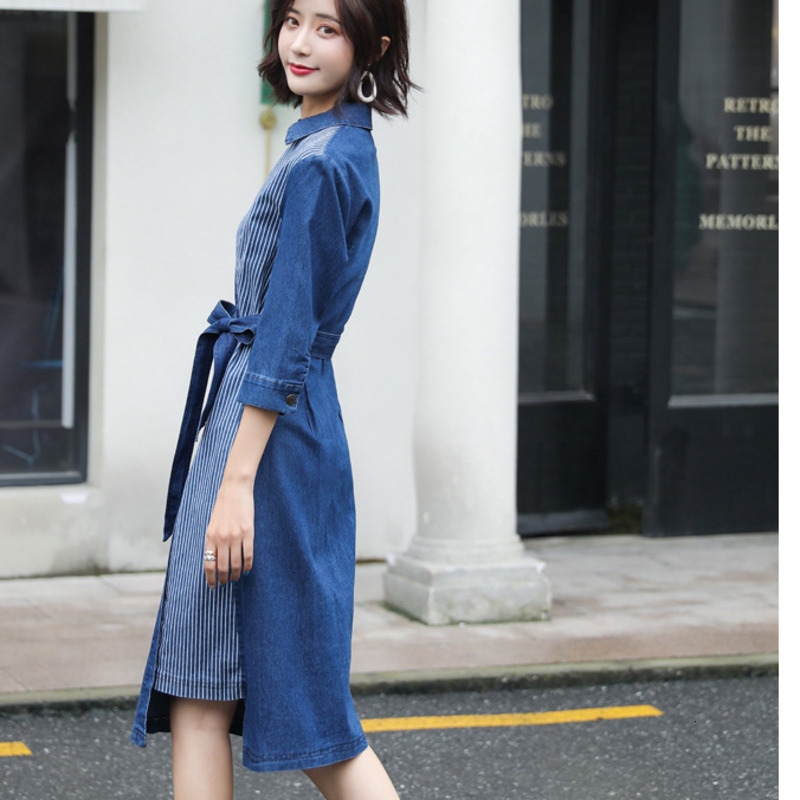 #2723 Denim Dresses For Women 19 Summer Jeans Dress Sexy Spliced Midi Dress V Neck Half Sleeve Dresses With Belt Plus Size 5XL 3