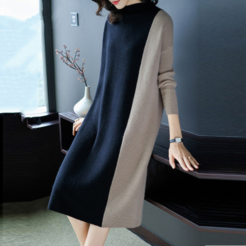 Europe Women 19 Autumn Winter Stitching Fashion Long Sleeve Dress Female Half Turtleneck Knee-Length Knitted Dress A1139 1