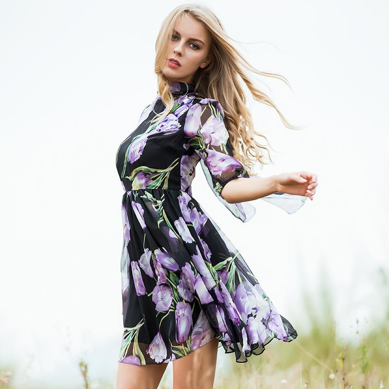 Fashion Dress Summer Spring New Women's 17 New Half Lantern Sleeve Purple Flowers Printed Emrboidery A-line Dress 3