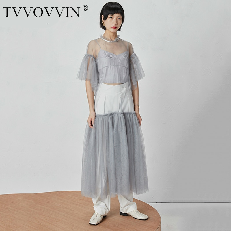 TVVOVVIN 19 New Spring Summer Round Neck Half Sleeve Mesh Perspective Bandage Spliced Loose Long Dress Women Fashion Tide D126 1
