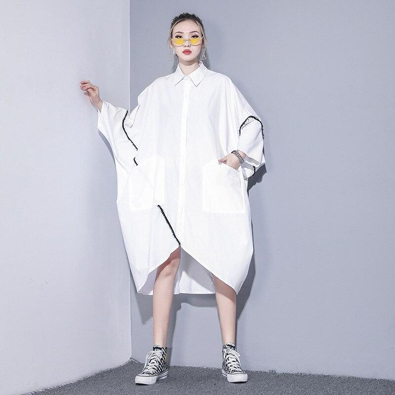 Vefadisa Spring Irregular Blouse Dress Woman  Pullover Half Sleeve Dress Solid Peter pan Collar Dress Black White QYF1573 2