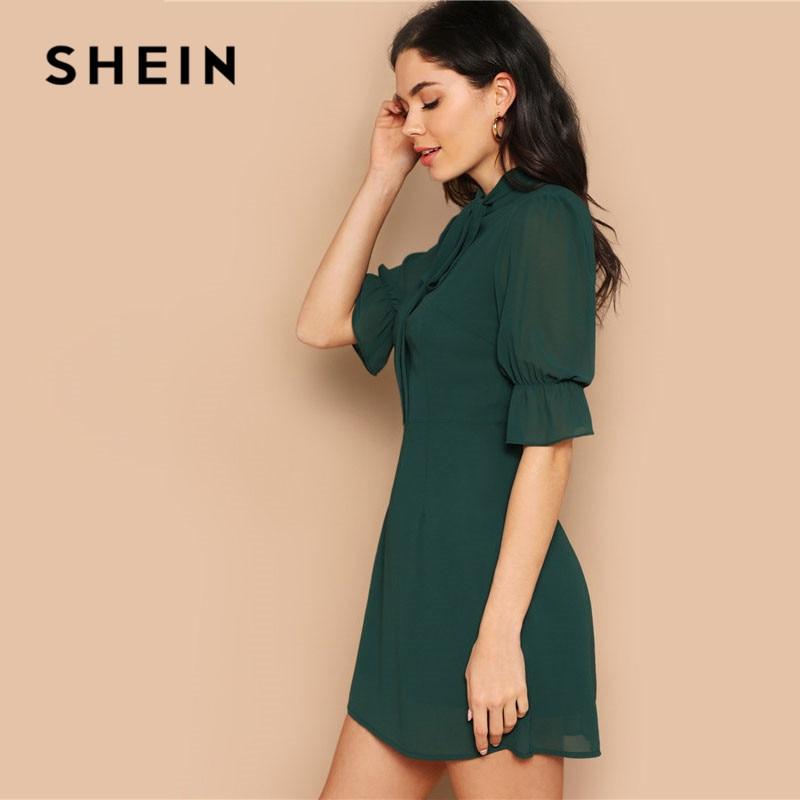 SHEIN Lady Green Elegant Tie Neck Stand Collar Flounce Sleeve Mini Dress Spring Solid Half Sleeve Ruffle Trim A Line Dress 3