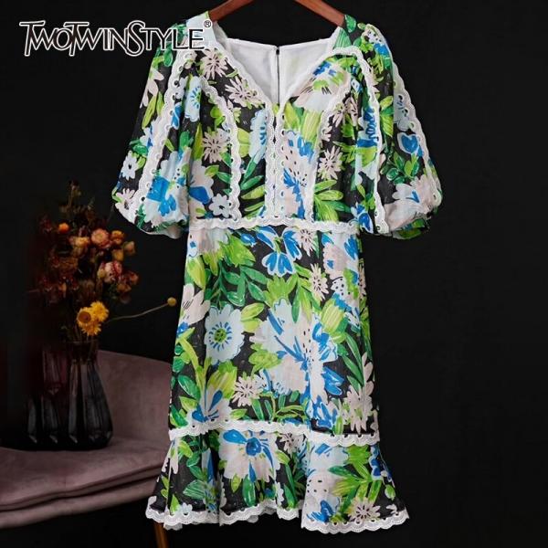 V Neck Lantern Half Sleeve High Waist Ruffle Dress