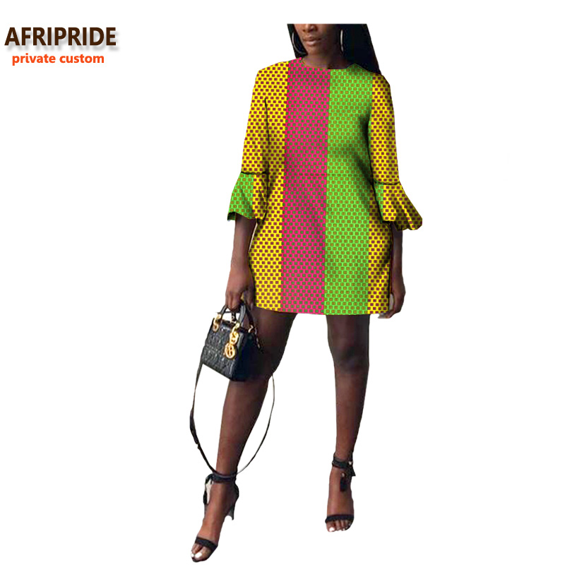 19 autumn african women dress AFRIPRIDE private custom flare sleeve above-knee length dress for women 100% pure cotton A722570 1