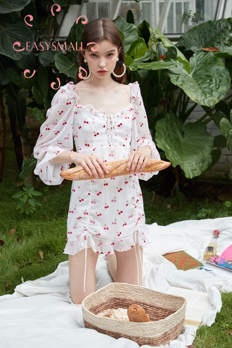 EASYSMALL For Love Lemons Women dress Summer high-end point High Waist Cherry Drawstring Lace Ruffle Lantern Sleeve Dresses 1