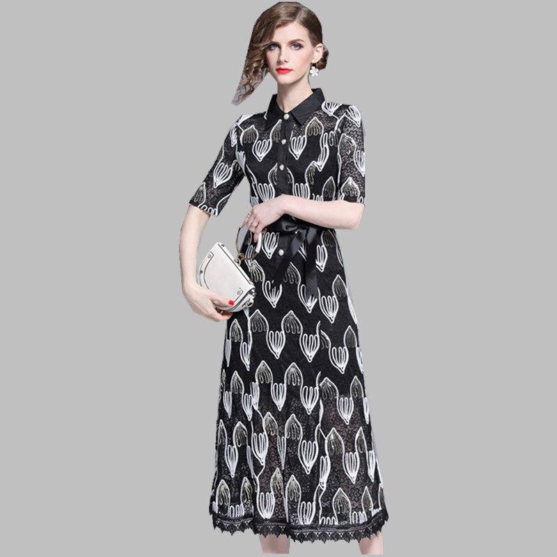 HAMALIEL Women Lace Midi Dress Luxury Summer Half Sleeve Patchwork Hollow Out Floral Dress Vintage Sequine Embroidery Long Dress