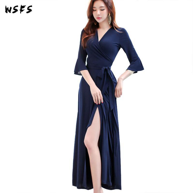 Summer Pink Dresses Blue Vneck Half Flare Sleeve Womens Dress Ruffles Vintage 18 Sexy Patry Office Long Loose Midi Sundress 1
