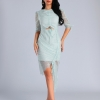 High Quality Light Blue O-Neck Half Lace Sleeve Bodycon Dress Fashion Party Elegant Dress