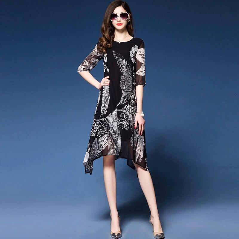 Western Fashion Floral Print Dresses Woman Half sleeve Brand Vestidos Mujer 18 Elegant Rayon Dress Summer new dress black 3