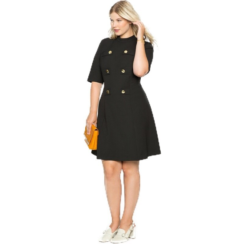 HDY Haoduoyi Large Size Metal Double-Breasted Decorative Half-High Collar Five-Point Sleeves Waist A-Line Dress 2