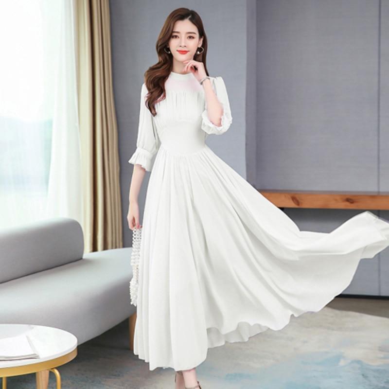 ALABIFU Summer Dress Women  Elegant Chiffon Long Ball Gown Dress Fashion Slim Half Sleeve Dresses Women vestidos Plus size 2