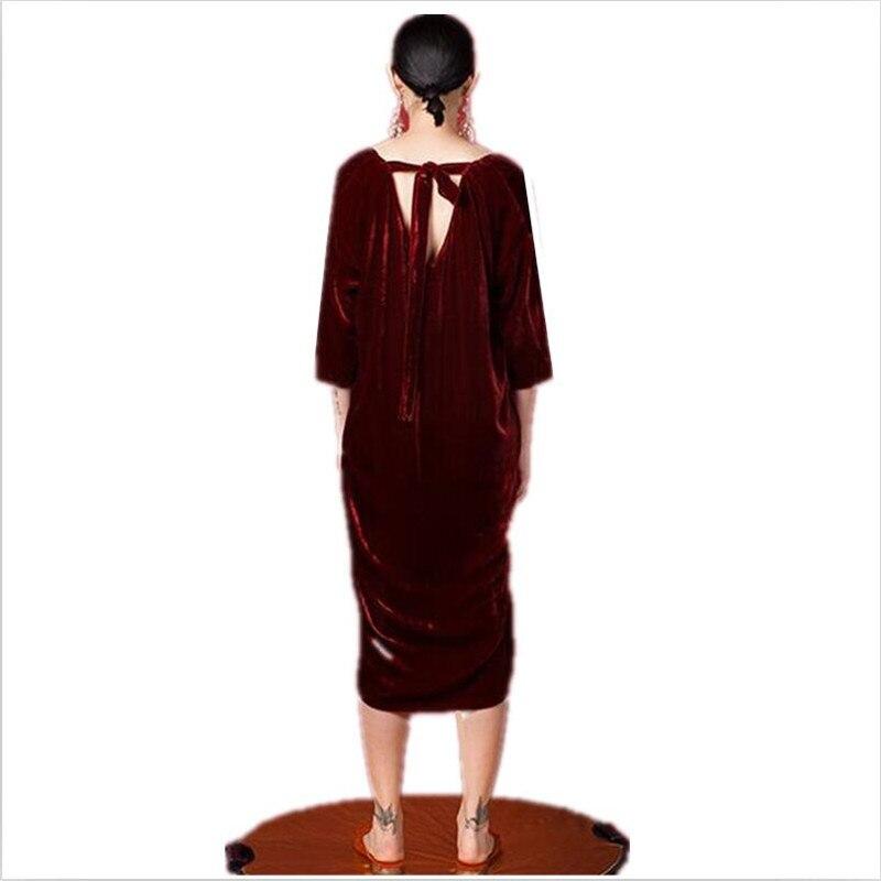 19 Women Autumn half sleeve long dress sexy deep V-neck Velvet straight dress plus size velour dress L-6XL 2